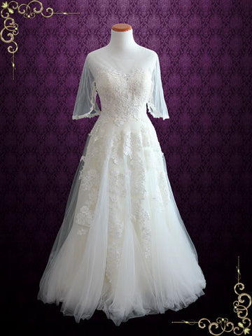 Vintage Lace Tulle Wedding Dress with Half Sleeves | Sophia