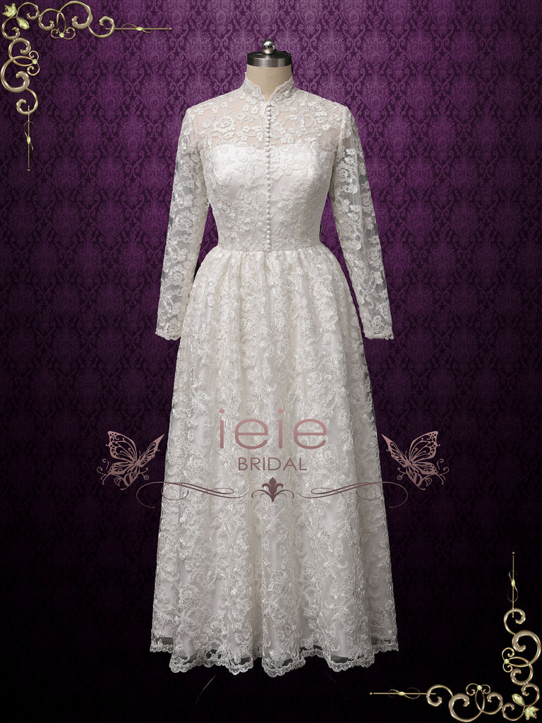 Vintage Style Ankle Length Lace Wedding Dress with Sleeves | CURTISS