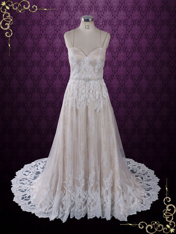 ae2f336f90a8 Size 8 Vintage Style Champagne Lace Wedding Dress with Thin Straps ...