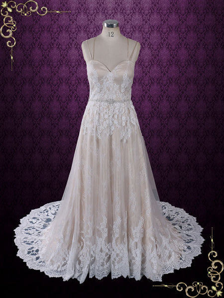 Size 8 Vintage Style Champagne Lace Wedding Dress with Thin Straps | Beth