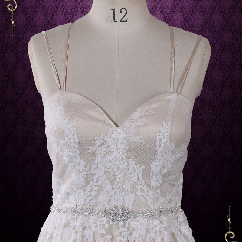 Vintage Style Champagne Lace Wedding Dress with Thin Straps | Beth