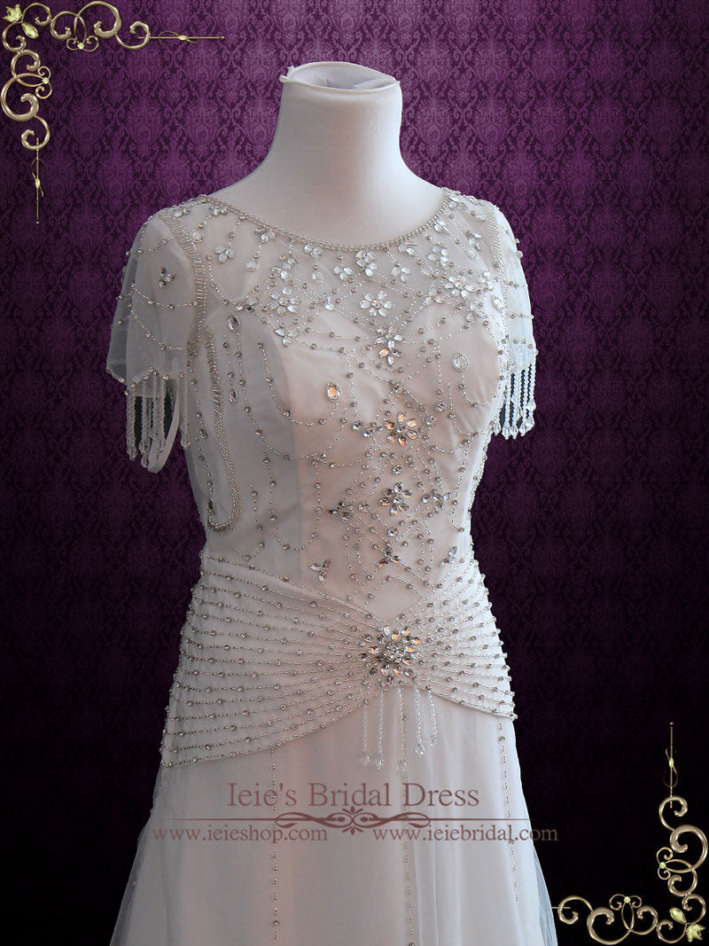 Jeweled Retro Hollywood Wedding Dress Vintage Wedding