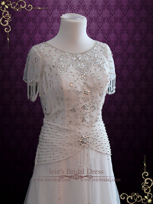 Jeweled Retro Hollywood Wedding Dress Vintage Wedding Dress | Danielle