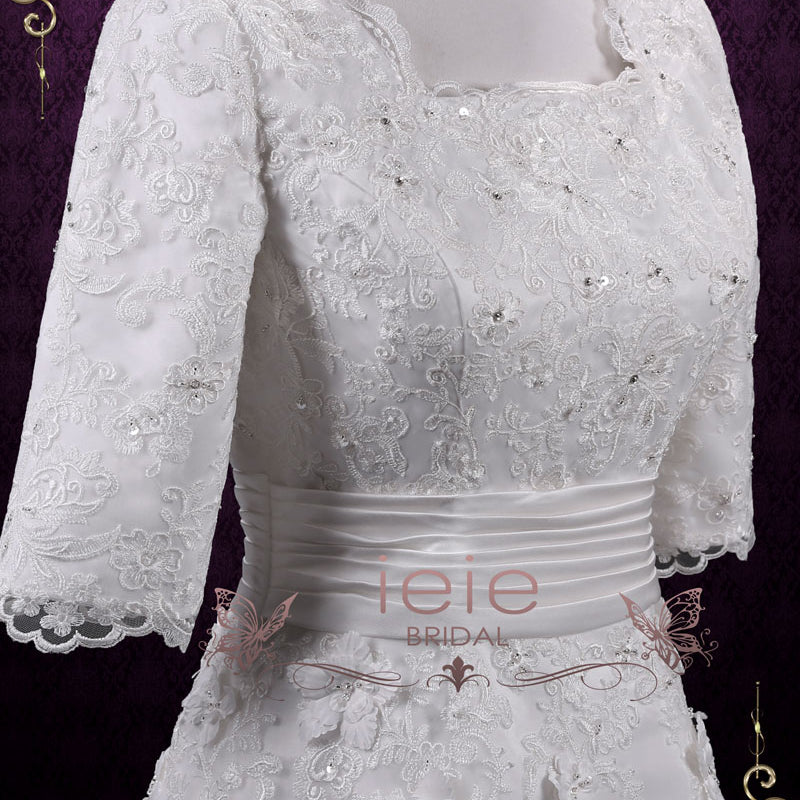 Vintage Modest Lace A-line Wedding Dress with Sleeves | Agnes