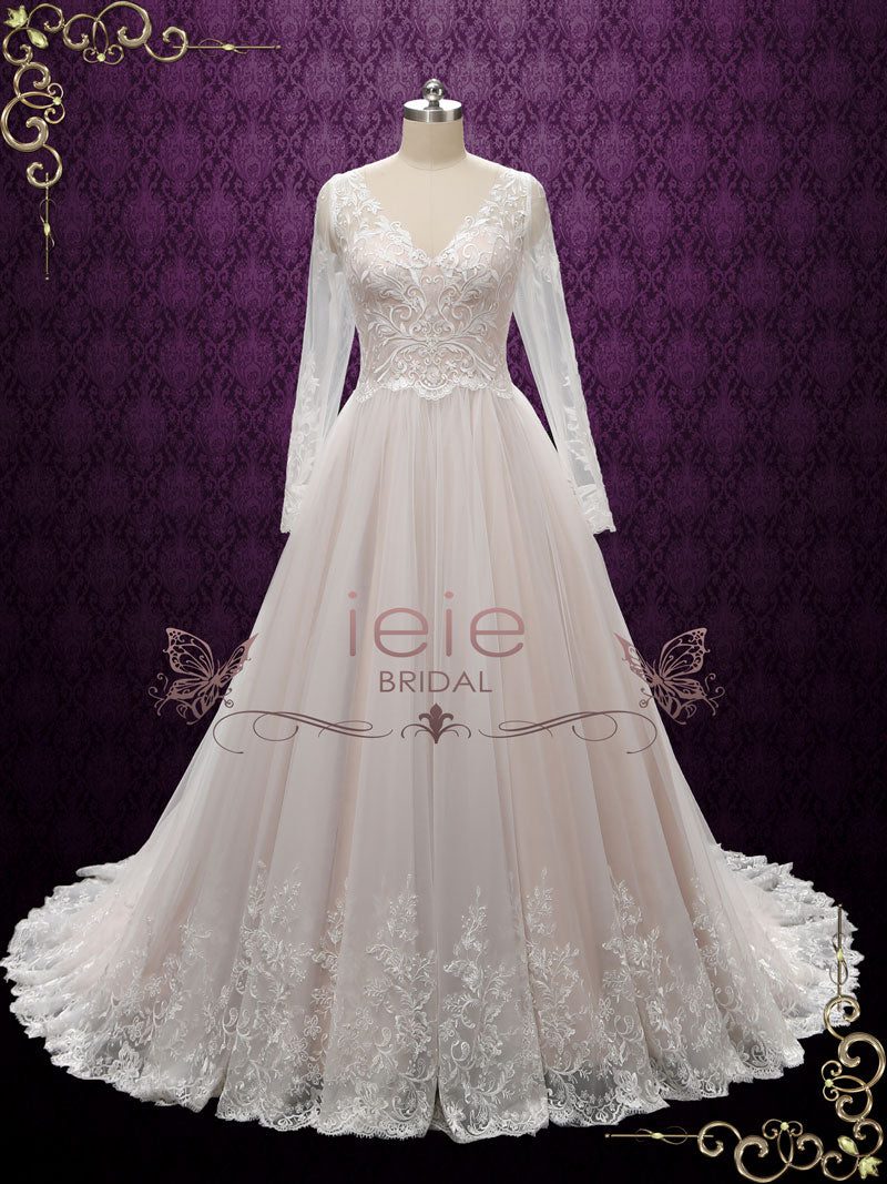 Vintage Lace Wedding Dress With Nude Colored Lining