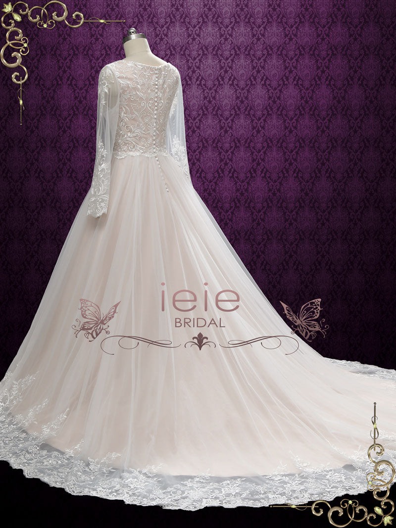 Vintage Lace Wedding Dress With Nude Colored Lining -7805