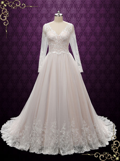 Vintage Lace Wedding Dress with Nude Colored Lining | Beatrice