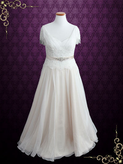 Vintage Lace Chiffon Wedding Dress With Jeweled Sash And