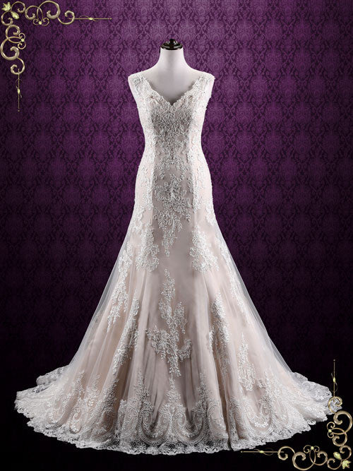 Vintage Champagne Lace Wedding Dress | London