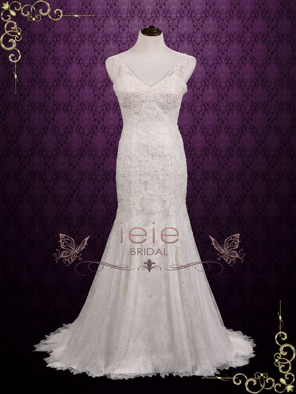 Vintage Lace Fit and Flare Wedding Dress | Becky