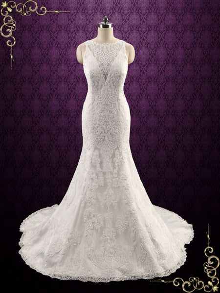 Exquisite Lace Fit and Flare Wedding Dress with Illusion Neckline