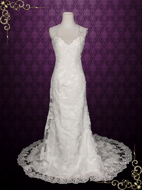 Lace Wedding Dress with Cap Sleeves and Keyhole Back | Paulina