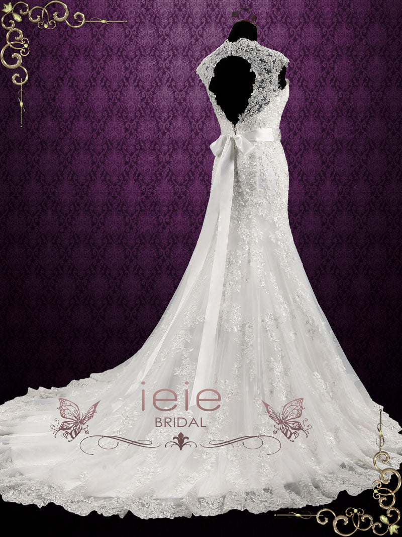 78b4eed35f3 Vintage Style Lace Keyhole Back Wedding Dress