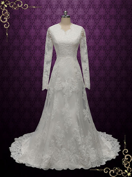 Modest Vintage Style Lace Wedding Dress with Long Sleeves ...