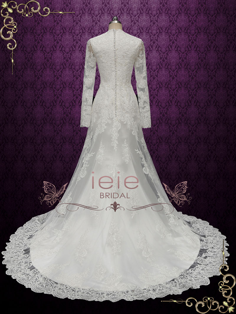 Modest Vintage Style Lace Wedding Dress With Long Sleeves Berenice: New Old Wedding Dresses At Reisefeber.org