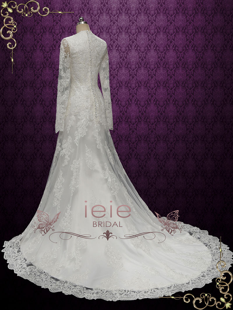 Modest Vintage Style Lace Wedding Dress with Long Sleeves and chapel train