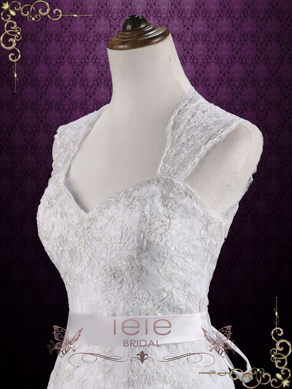 Vintage Style Mermaid Lace Wedding Dress with Keyhole Back | Ambrosia