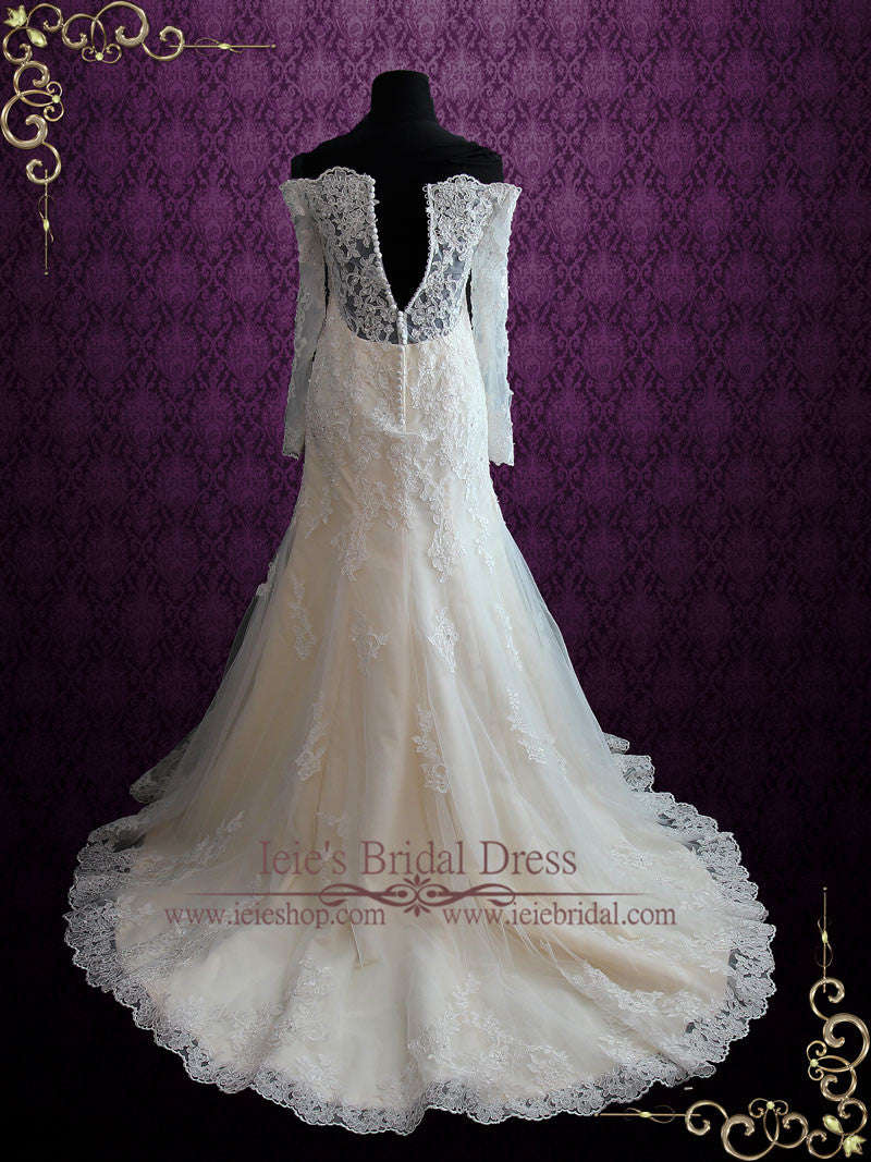 Champagne Vintage Style Lace Wedding Dress with Off Shoulder Long ...