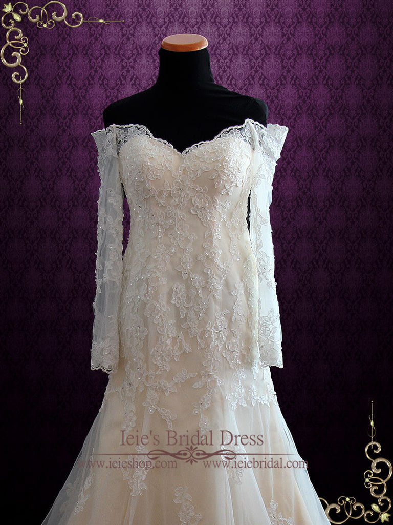 Champagne Vintage Style Lace Wedding Dress with Off the Shoulder Long Sleeves MEG