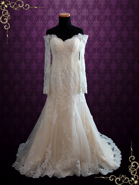 Champagne Vintage Style Lace Wedding Dress With Off The