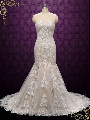 Strapless Vintage Lace Wedding Dress | Valeriya
