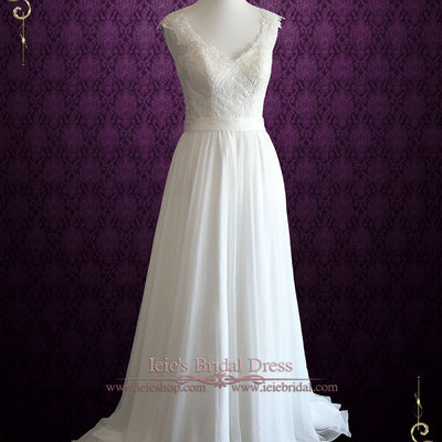 Vintage Lace Chiffon Wedding Dress with Illusion Lace Back | Briann