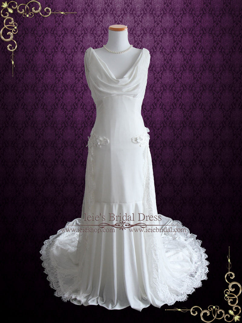 Ethereal Grecian Velvet Wedding Dress With Cowl Neck