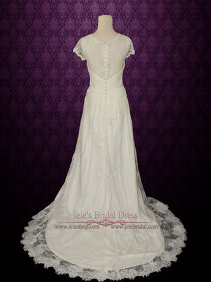 Ready to Ship Vintage Lace Wedding Dress with V Neck | Ana