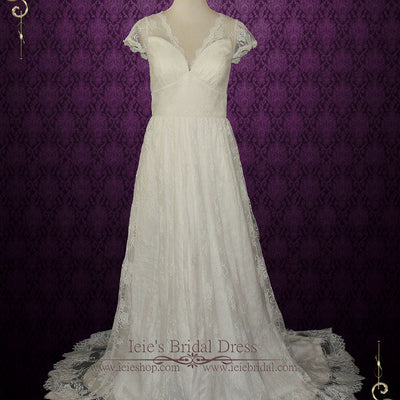 Vintage Lace Wedding Dress with V Neck | Ana