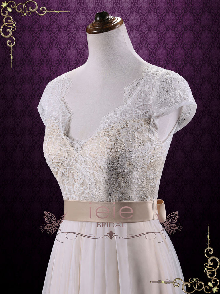 Vintage Lace Wedding Dress with Cap Sleeves LINDEN