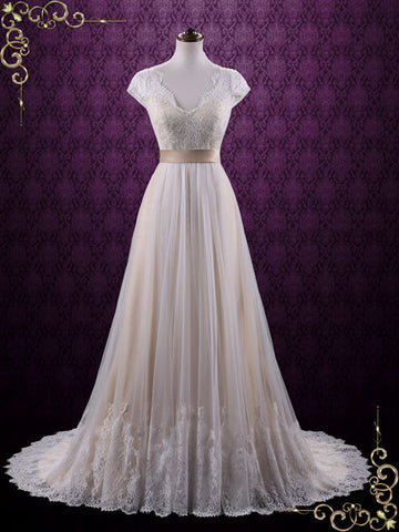 Vintage Lace Wedding Dress with Cap Sleeves | Linden