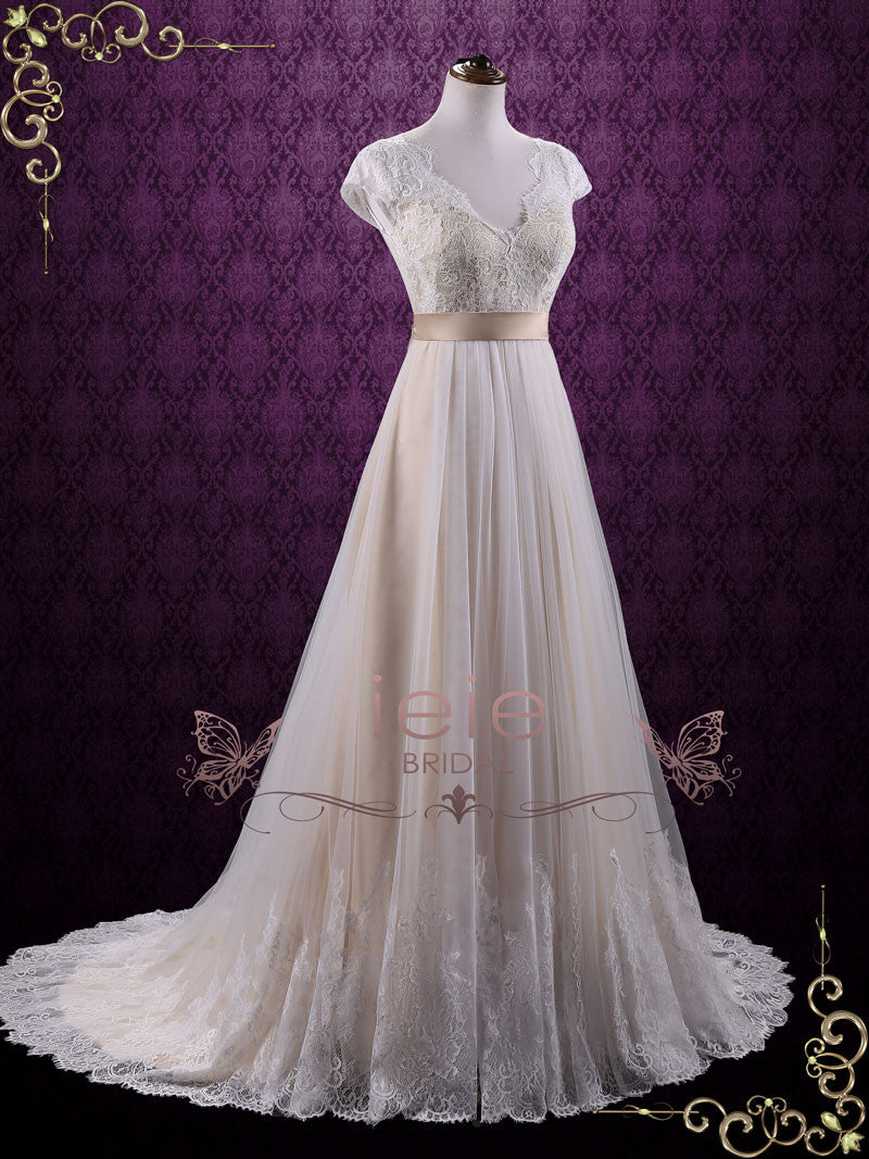 Vintage Lace Wedding Dress with Cap Sleeves | Linden – ieie