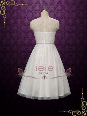 Vintage Style Tea Length Lace Wedding Dress | Lucya