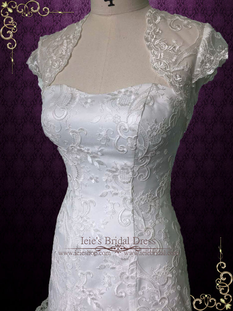 Vintage Style A-line Lace Wedding Dress with Jacket | Anita