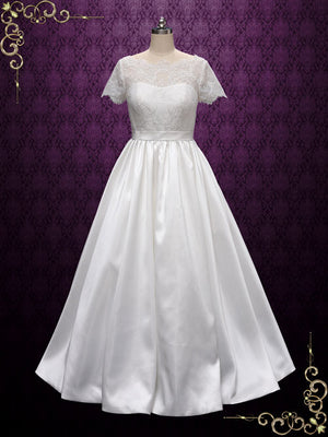 Vintage Short Sleeves Lace Wedding Dress
