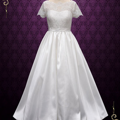 Vintage Short Sleeves Lace Wedding Dress | Alecta – ieie
