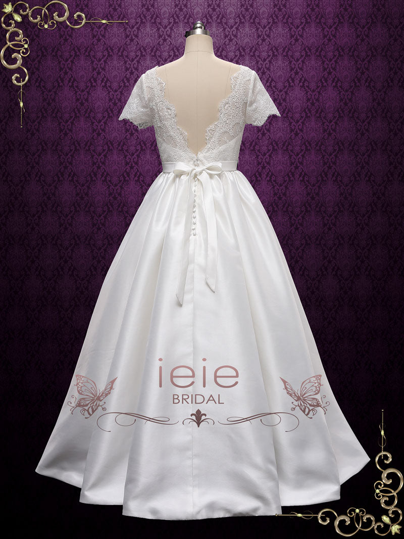 Vintage Short Sleeves Lace Wedding Dress | Alecta