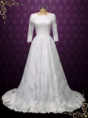 Vintage Style Modest Lace Wedding Dress | Olie