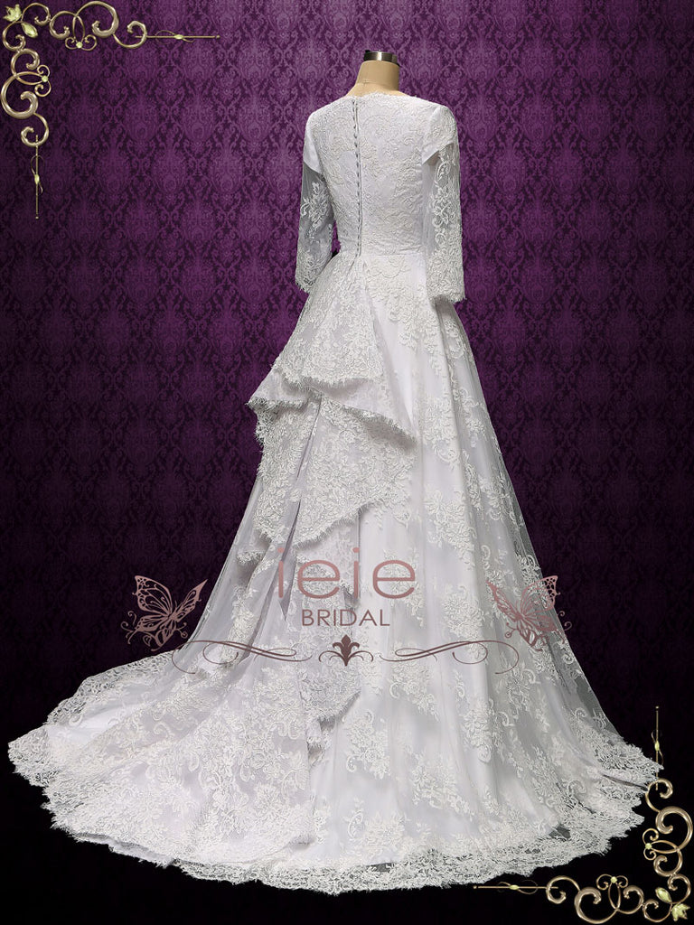 Vintage Style Modest Lace Wedding Dress OLIE
