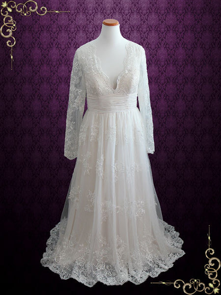 Vintage Champagne Lace Beach Wedding Dress With Sleeves | Ann