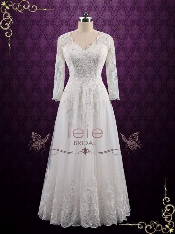 bc2a97abf8e Vintage Long Sleeves Lace Wedding Dress with Open Back