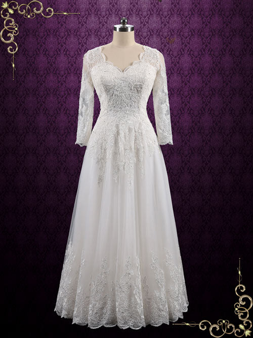 Vintage Long Sleeves Lace Wedding Dress with Open Back | Ansonia