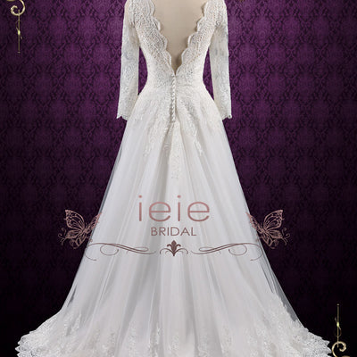 Vintage Long Sleeves Lace Wedding Dress with Open Back | Ansonia – ieie