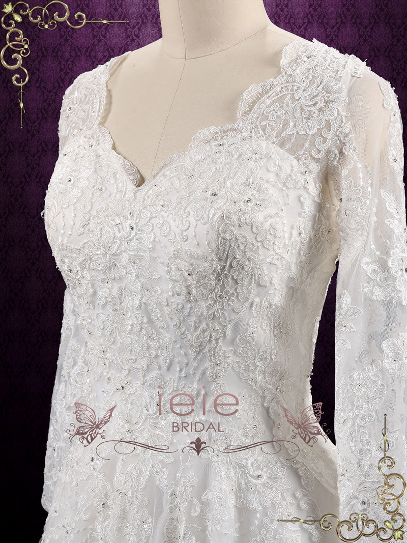 Vintage Long Sleeves Lace Wedding Dress with Open Back | Ansonia ...