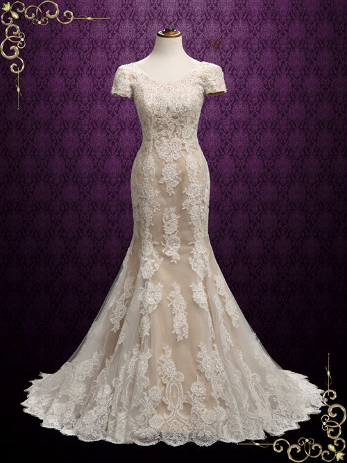 Modest Mermaid Lace Wedding Dress with Short Sleeves | Edna