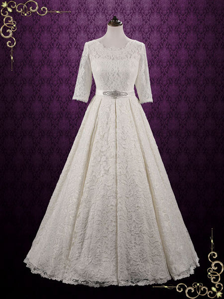 Vintage Modest Lace Wedding Dress with Sleeves | Camilla