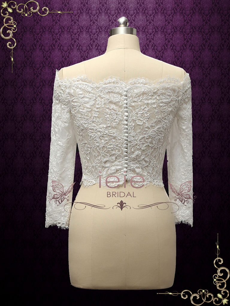 Vintage Style Off Shoulder Lace Bolero Jacket | Bergen