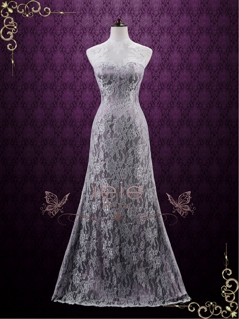 Vintage Purple Lace Wedding Dress with Keyhole Back   Lucy