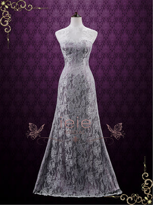 Vintage Purple Lace Wedding Dress with Keyhole Back | Lucy