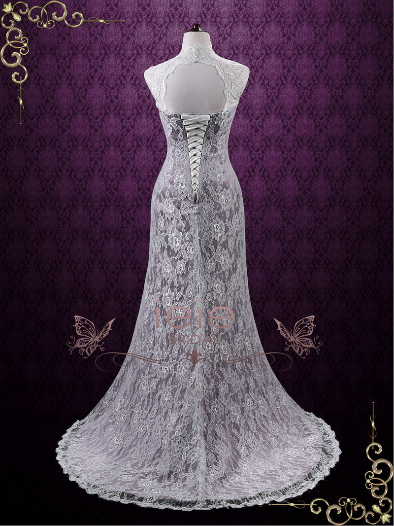 Vintage Purple Lace Wedding Dress with Keyhole Back | Lucy – ieie